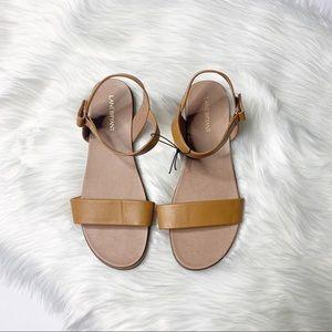 Lane Bryant Women's Two-Strap Flat Sandal 10W Tan